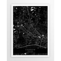 Plakat mapa CHORZÓW - linia BLACK