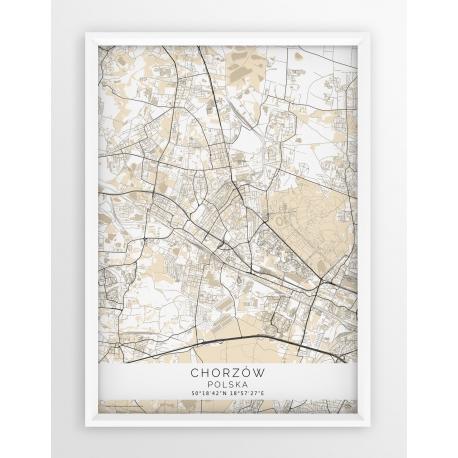 Plakat mapa CHORZÓW - linia BEIGE