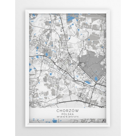 Plakat mapa CHORZÓW - linia BLUE
