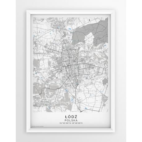 Plakat, mapa ŁÓDŹ - linia BLUE/GREY-PASSEPARTOUT