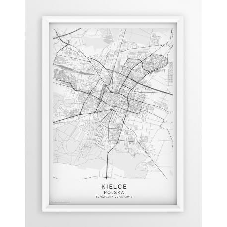 Plakat, mapa KIELCE - linia PASSE-PARTOUT