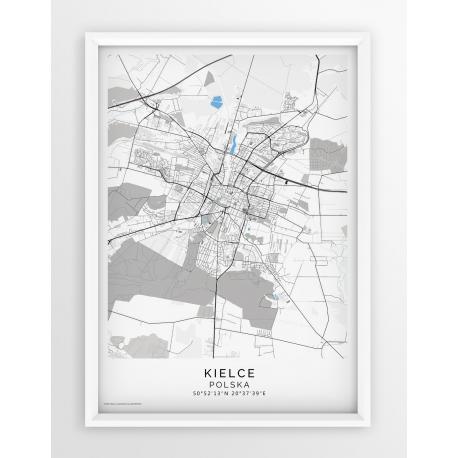 Plakat, mapa KIELCE- linia BLUE/GREY-PASSEPARTOUT
