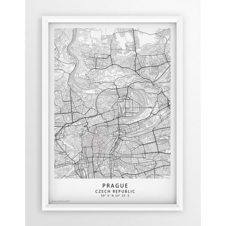 Plakat, mapa PRAGUE - linia WHITE/PASSE-PARTOUT