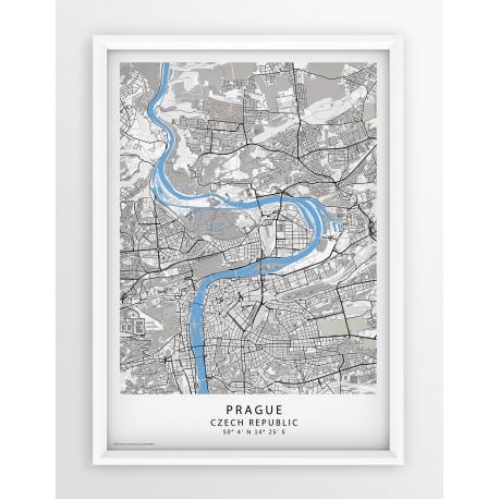 Plakat, mapa PRAGUE - linia BLUE/GRAY/PASSE-PARTOUT