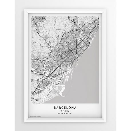 Plakat, mapa BARCELONA - linia WHITE/PASSE-PARTOUT
