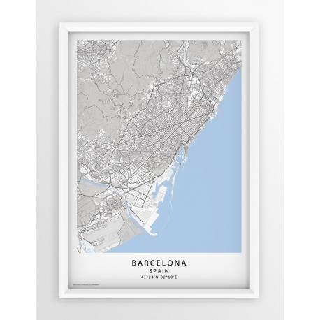 Plakat, mapa BARCELONA - linia BLUE/GRAY/PASSE-PARTOUT