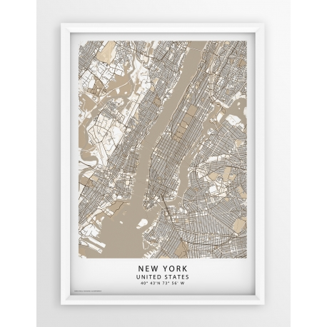 Plakat, mapa NEW YORK - linia BEIGE/PASSE-PARTOUT
