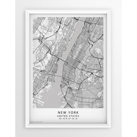 Plakat, mapa NEW YORK - linia WHITE/PASSE-PARTOUT