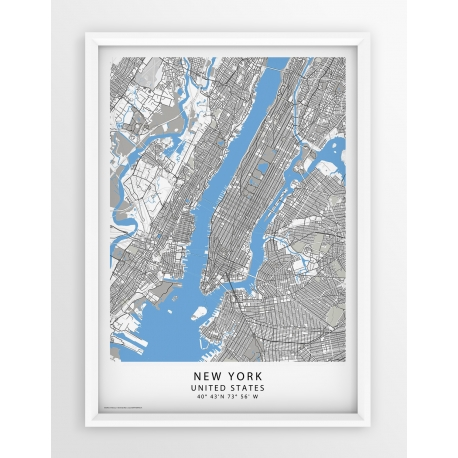 Plakat mapa NEW YORK - seria BLUE/GRAY/PASSE-PARTOUT