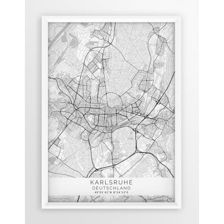 Mapa plakat KARLSRUHE - Linia WHITE