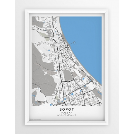 Plakat, mapa SOPOT- linia BLUE/GREY-PASSEPARTOUT