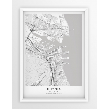 Plakat, mapa GDYNIA - linia PASSE-PARTOUT