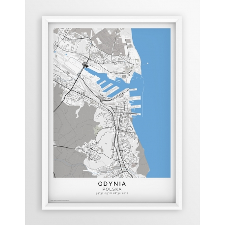 Plakat, mapa GDYNIA- linia BLUE/GREY-PASSEPARTOUT