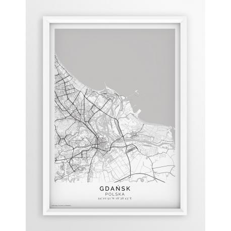 Plakat, mapa GDAŃSK- linia PASSE-PARTOUT