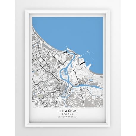 Plakat, mapa GDAŃSK- linia BLUE/GREY-PASSEPARTOUT