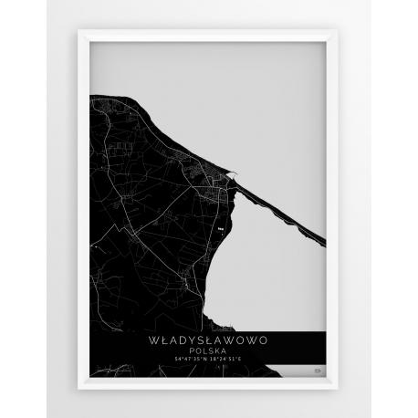 Plakat mapa WŁADYSŁAWOWO - linia BLACK