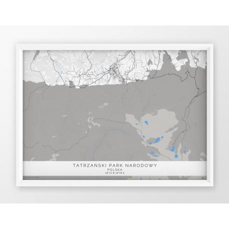 Plakat mapa TATRZAŃSKI PARK NARODOWY - BLUE