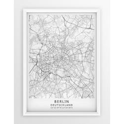 Plakat, mapa BERLIN - linia WHITE - PASSEPARTOUT