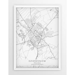 Plakat mapa DZIERŻONIÓW - linia WHITE