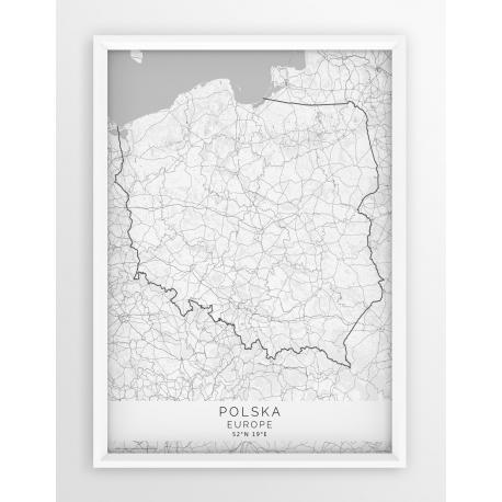 Plakat mapa POLSKA- linia WHITE