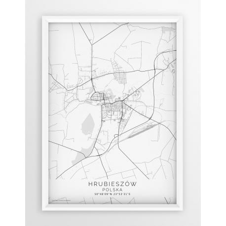 Plakat mapa HRUBIESZÓW - linia WHITE