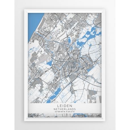 Plakat mapa LEIDEN- linia BLUE/GRAY