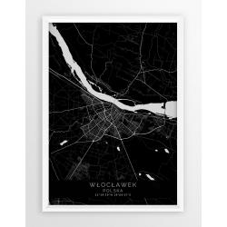 Plakat, mapa WŁOCŁAWEK - linia BLACK