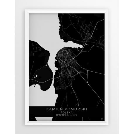 Plakat, mapa KAMIEŃ POMORSKI - linia BLACK