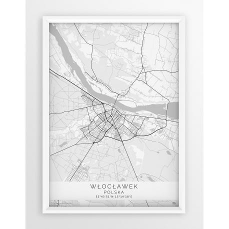 Plakat, mapa WŁOCŁAWEK - linia BLUE