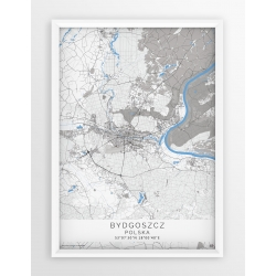 Mapa plakat BYDGOSZCZ - linia BLUE/GRAY