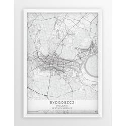 Mapa plakat BYDGOSZCZ - linia WHITE