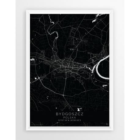 Mapa plakat BYDGOSZCZ - linia BLACK