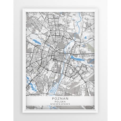 Mapa plakat POZNAŃ - linia BLUE/GRAY