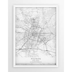 Mapa plakat POZNAŃ - linia WHITE