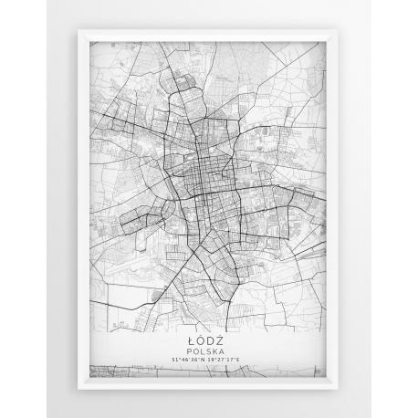Mapa plakat ŁÓDŹ - linia WHITE