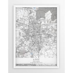 Mapa plakat ŁÓDŹ - linia BLUE/GRAY