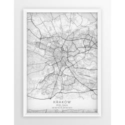Mapa plakat KRAKÓW - linia WHITE