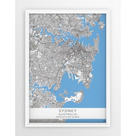 Mapa plakat SYDNEY - linia BLUE/GRAY