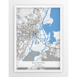 Mapa plakat SZCZECIN - linia BLUE/GRAY