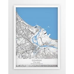 Mapa plakat GDAŃSK - linia BLUE/GRAY