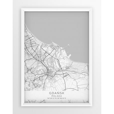 Mapa plakat GDAŃSK - linia WHITE