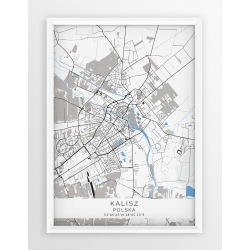 Mapa plakat KALISZ - linia BLUE/GRAY