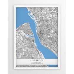 Mapa plakat LIVERPOOL- linia BLUE/GRAY