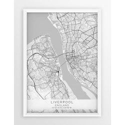 Mapa plakat LIVERPOOL- linia WHITE