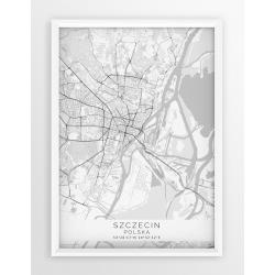 Mapa plakat SZCZECIN - linia WHITE
