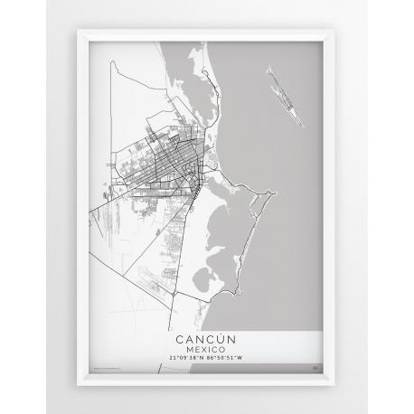 Mapa plakat CANCUN - Linia White