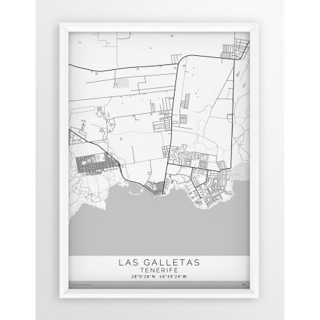 Mapa plakat LAS GALLETAS - Linia White