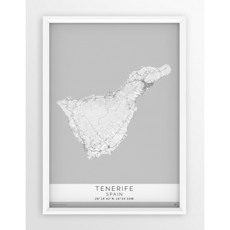 Mapa plakat TENERIFE - Linia White