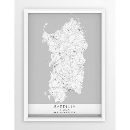 Mapa plakat SARDINIA - Linia White