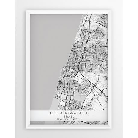 Mapa plakat TEL AWIW - JAFA - Linia White